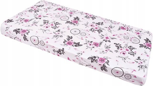 Baby Fitted Sheet for Standard Cot 120x60, Flower Print and Dream Catcher Design