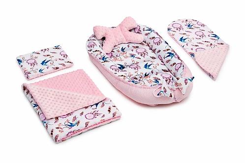 Swallows & Pink Minky 5-Piece Set