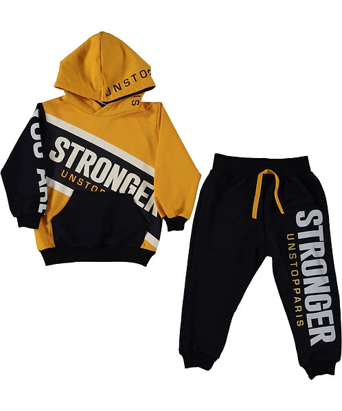 Stronger slogan boys tracksuit, black and yeallow
