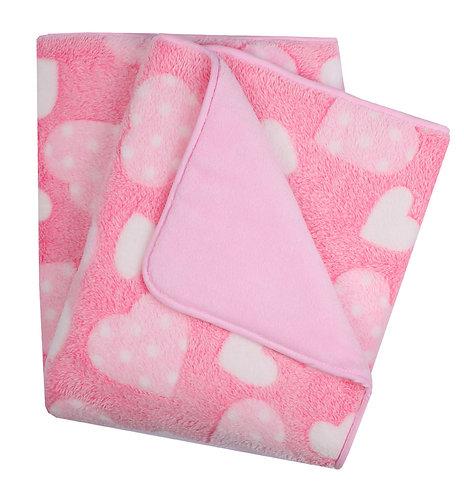 Baby Girl Outdoor Warm Fleece Blanket with pink hearts