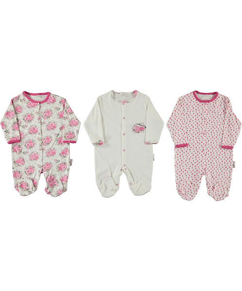 Baby Girl Sleepsuits, Rose Print