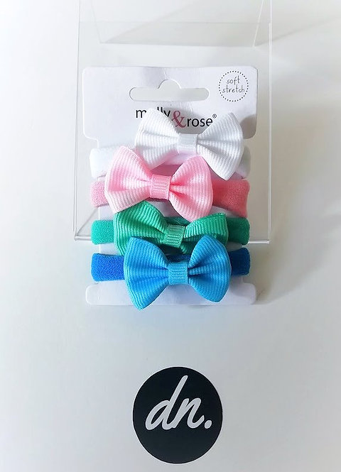Soft Jersey Fabric Elastics with Bow (White/Pink/Green/Blue)