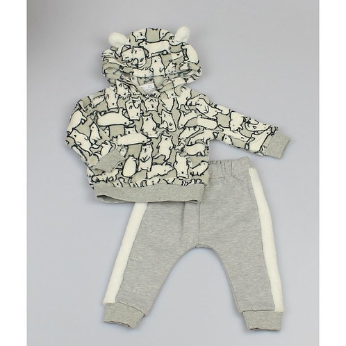BABY POLAR BEAR HOODED CUDDLE FLEECE TOP & JOG PANT SET
