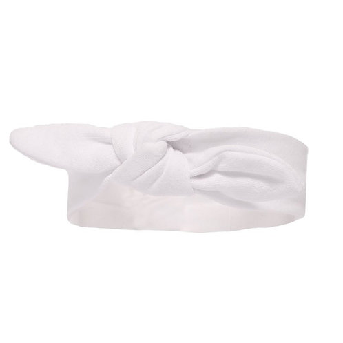 Plain White, Soft Cotton Baby Headband with knot at the front