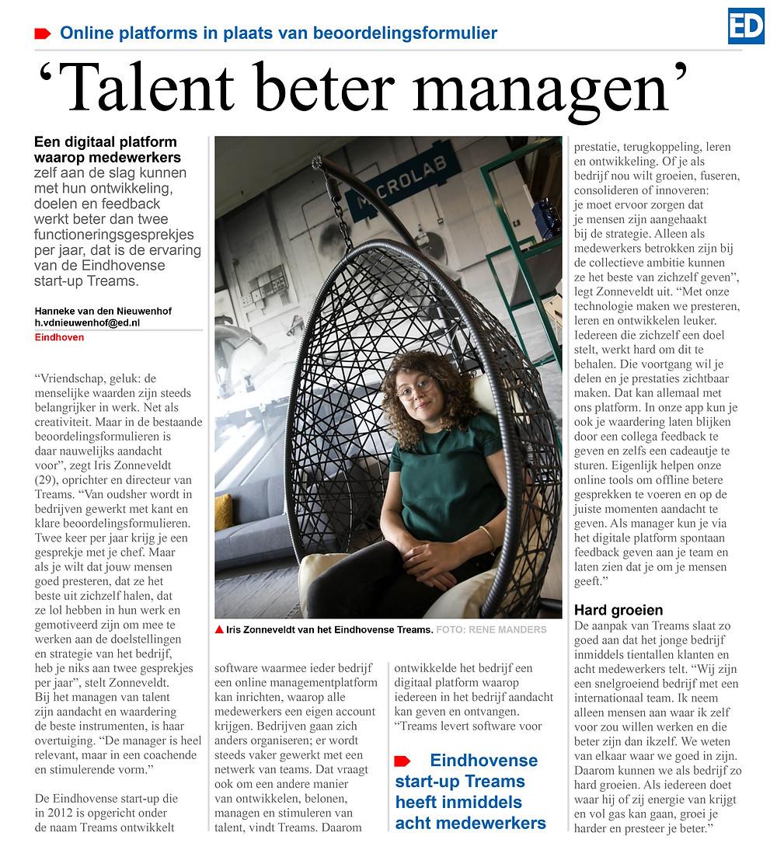 Eindhovens dagblad: interview met Iris Zonneveldt over talent