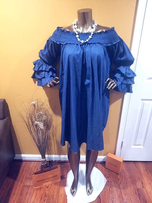 Blue Denim Dress with dynamic Sleeves