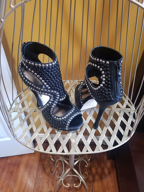 Black & White Pearl Studded Booties