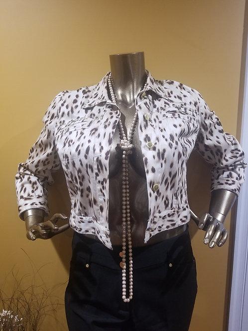 Leopard Print Gold Studded Jacket
