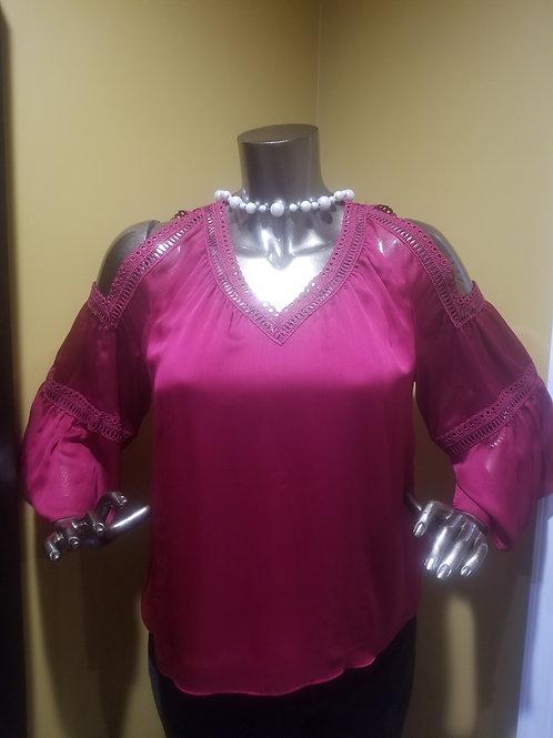 Red Open Shoulder Bell Sleeve Blouse