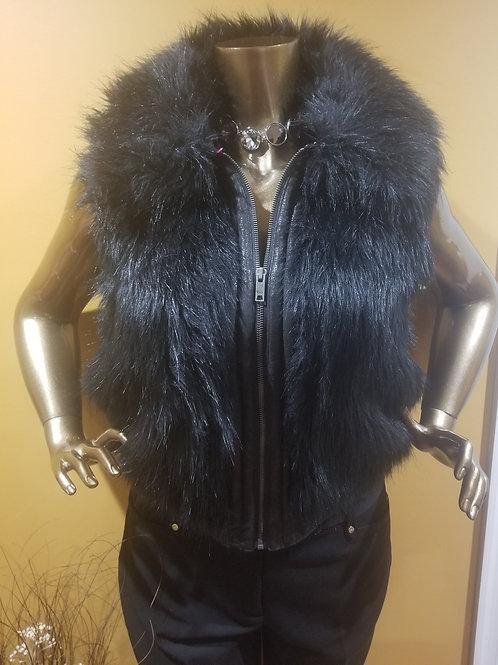 Black Faux Fur Collar Vest