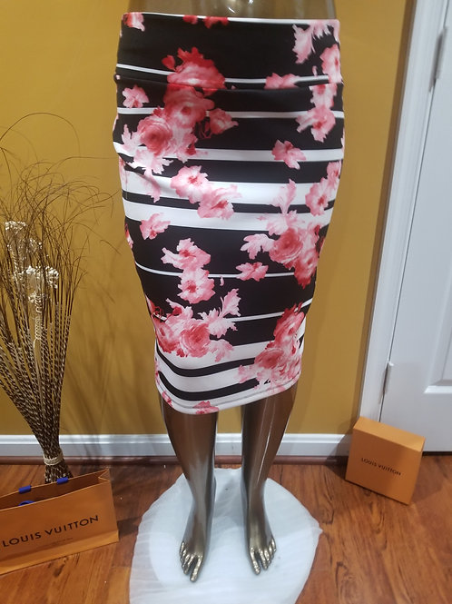 Pink, Black a touch of Red Pencil Skirt