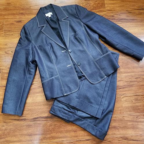 Two-Piece Denim Cuffed Pants Suit
