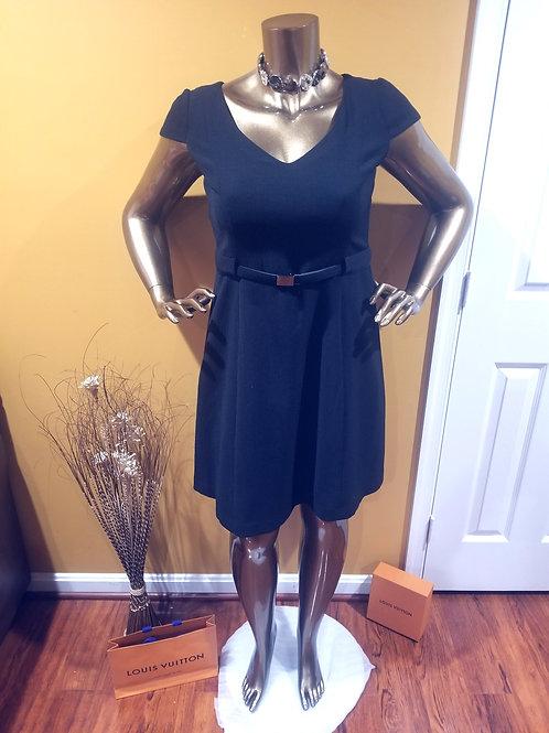 Black A-line Belted Dress
