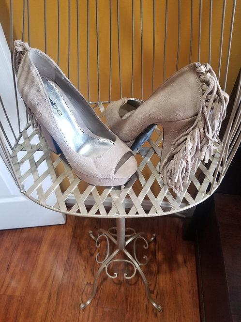 Open-Toe Fringe Accent Shoes