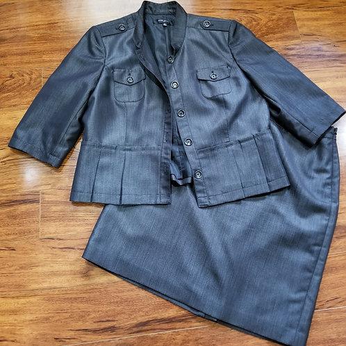 Dark Denim Two-Piece Skirt Suit