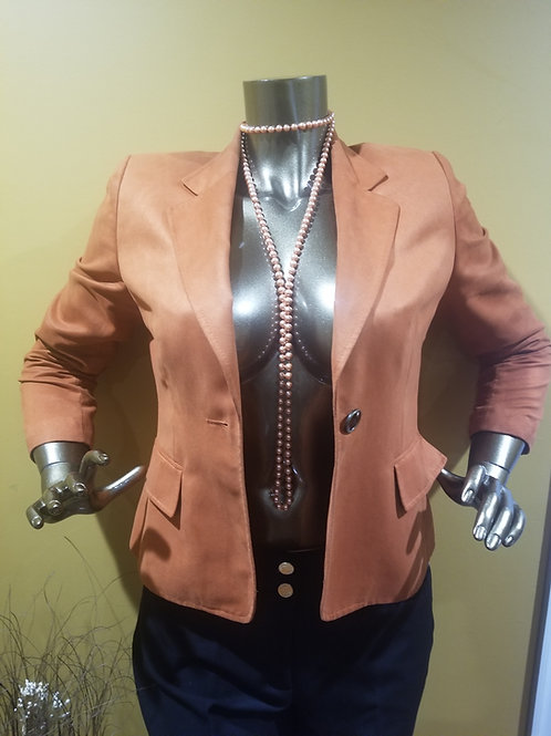 Burnt Orange Faux Suade Blazer