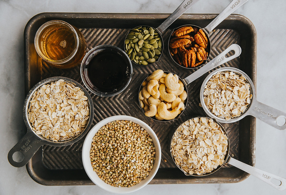 A selection of gluten products: beer, cereal, grains, oats and more.
