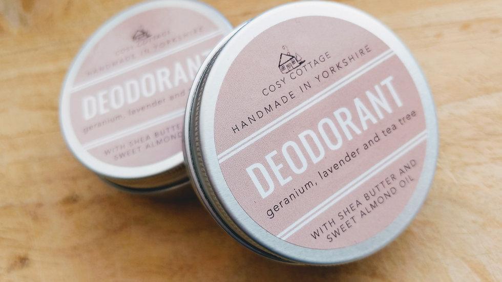 Geranium, lavender and tea tree deodorant