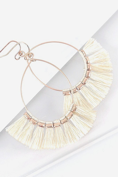 Fringed Earrings - Ivory