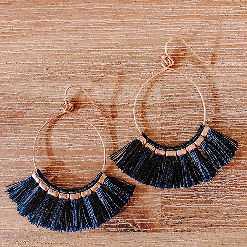 Fringed Earrings - Navy