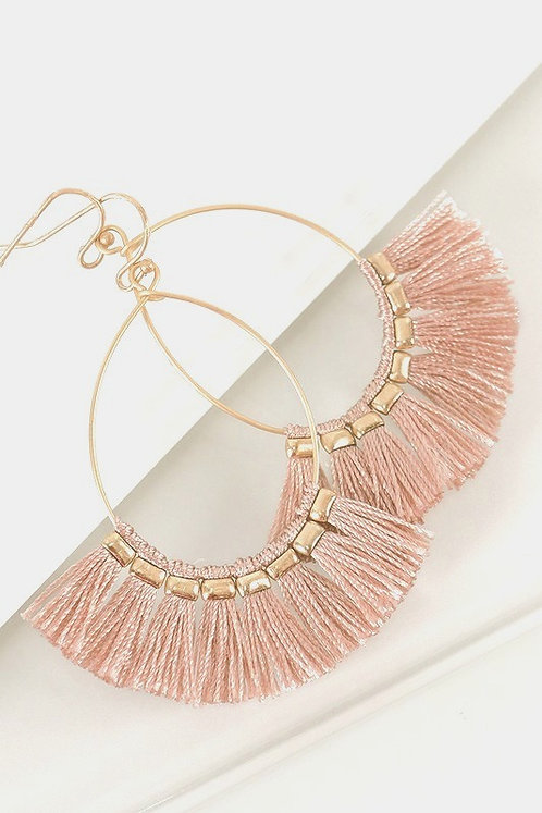 Fringed Earrings - Blush
