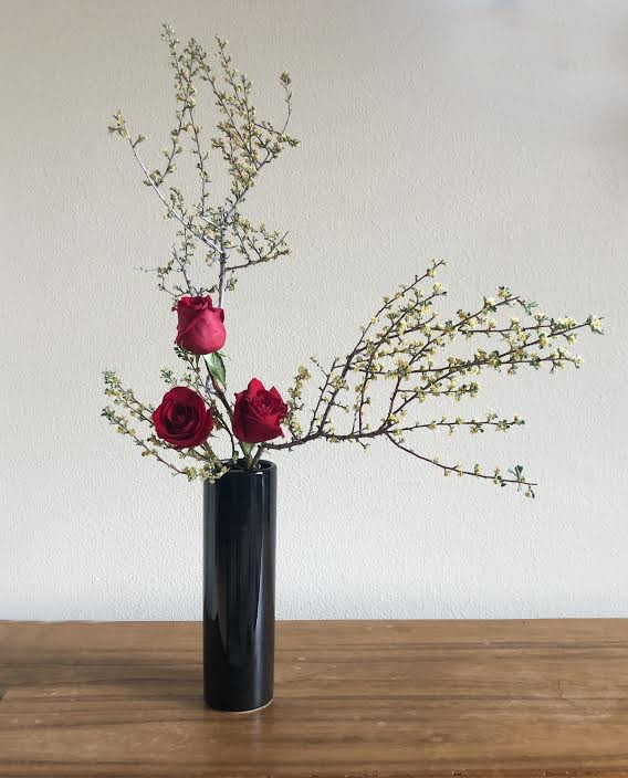 Ikebana nageire style, Scotch broom, roses.