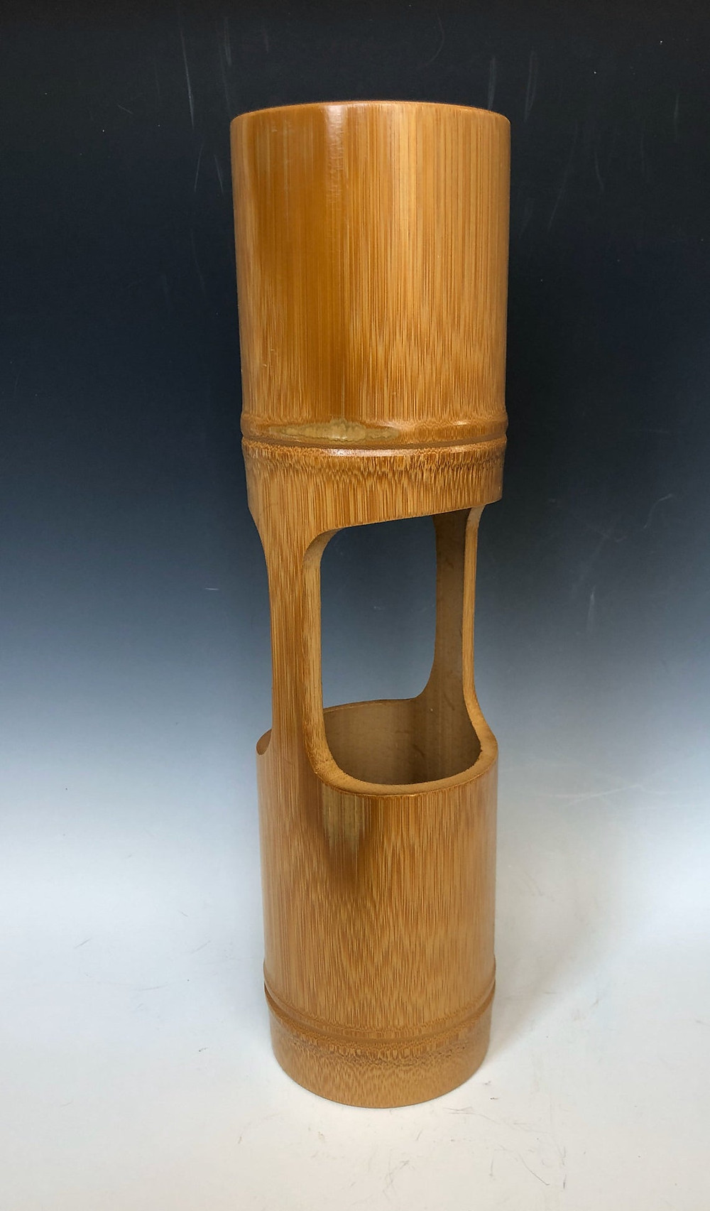 Bamboo cylinder vase for ikebana.