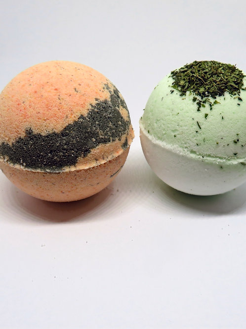 Organic Bath bombs (set of 2)  Patchouli/Sweet orange & Peppermint