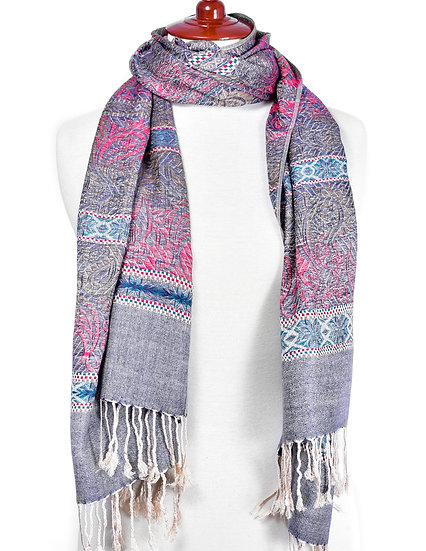 Grey-Ruby Scarf AD-263