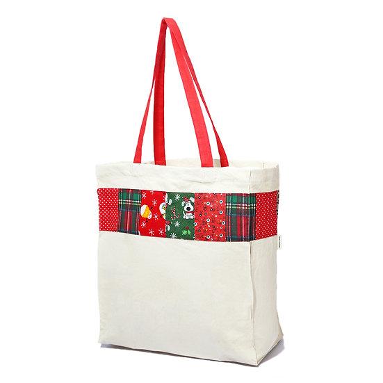 Aasma's Dream, Christmas Bag 100% organic Cotton Canvas Tote 14x18x6 Reusable Ba
