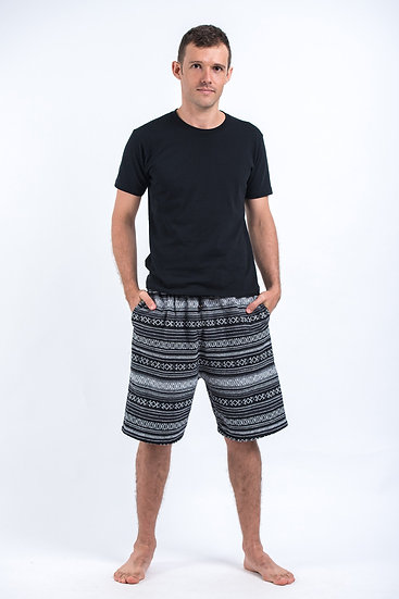 Men's Shorts B&W Boho Stripes