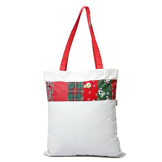 Aasma's Dream, Christmas Bag 100% organic Cotton Canvas Tote 14x16 Reusable Bag