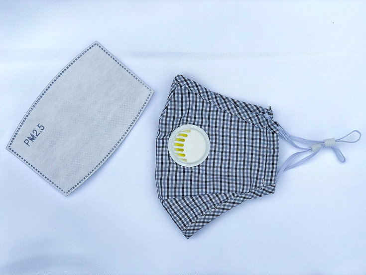 Reusable Cloth Face Mask with Respirator and Replaceable Filters (GRAY)