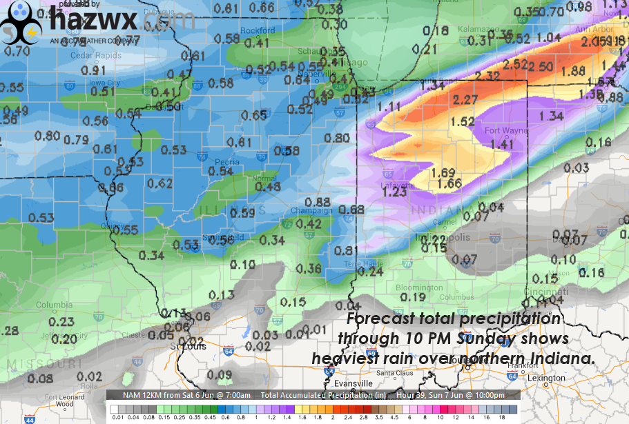 Total forecast precipitation totals for Sunday through 10 PM show the threat for heavy rains with slow moving storms.