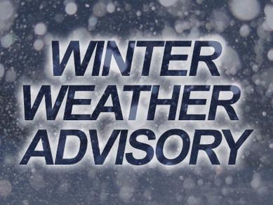"Winter Weather Advisory, 1-3"" of snow expected Wednesday"