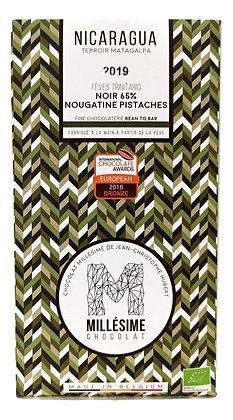 Chocolat Millésime noir Nicaragua 65% - Nougatine à la pistache