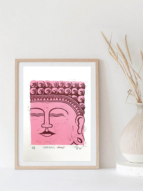 'Peaceful Mind' Buddha Linocut print