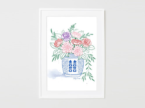 Roes in ginger jar print