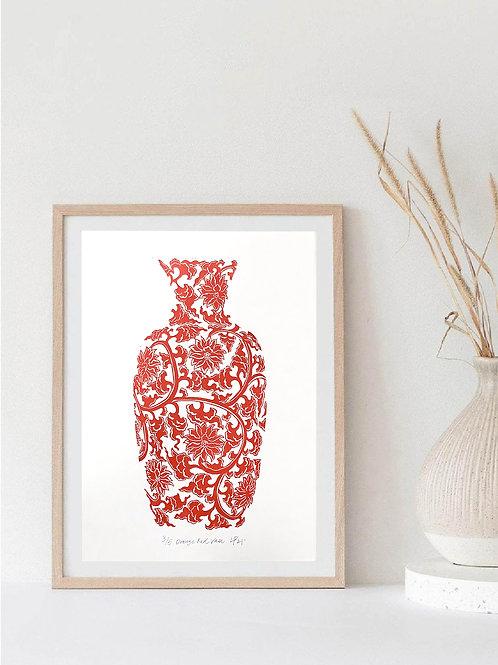 Orange Red Vase Linocut Print