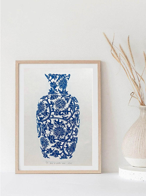 Blue and White Vase Linocut Print