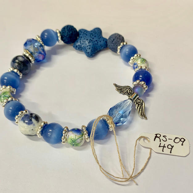 Angel Bracelet - Dark / Light Blue / Star Lava Bead