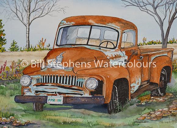 Original Watercolour Painting - 1953 International Pickup