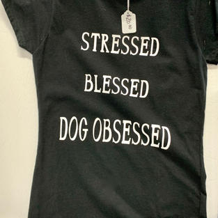 Stressed Blessed Dog Obsessed - Tshirt - Black S