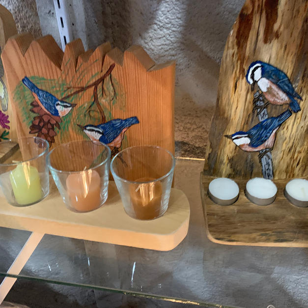 Painted Candle Holders (Birds)