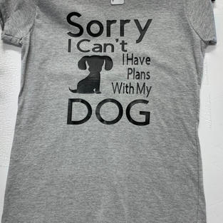 Sorry I Can't I Have Plans With My Dog - Tshirt - Grey M