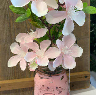 Chalk Painted Jar with Flowers - Light Pink