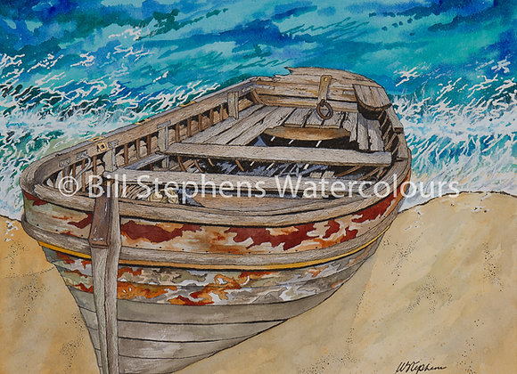 Original Watercolour Painting -Old boat on shore