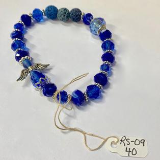 Angel Bracelet - Crystal / Blue / Lava Bead