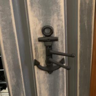 Grey Cabinet Door with Anchor - 8 x 28