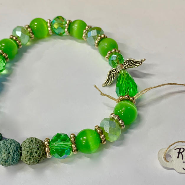 Angel Bracelet - Green / Crystal / Lava Bead